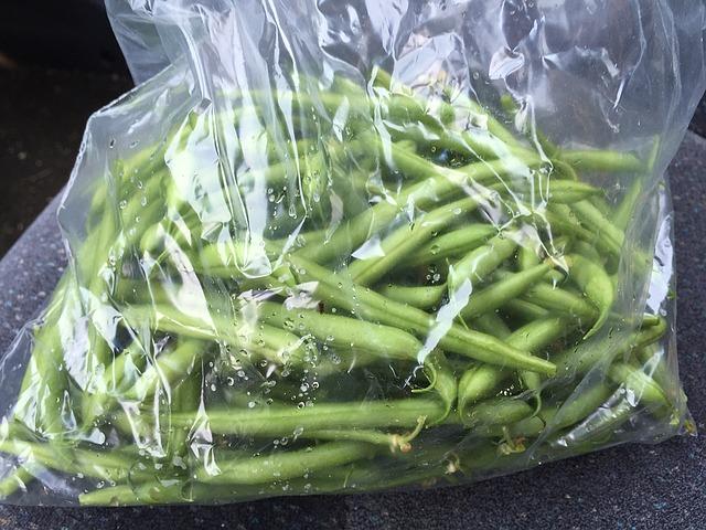 zelené fazolky uložené do sáčku